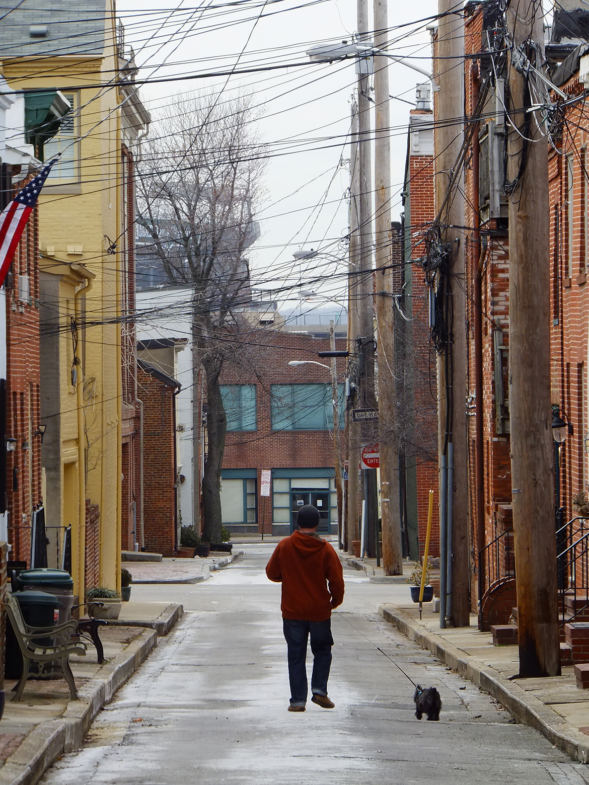 """Man and his dog"" dans les rues du quartier Federal Hill"