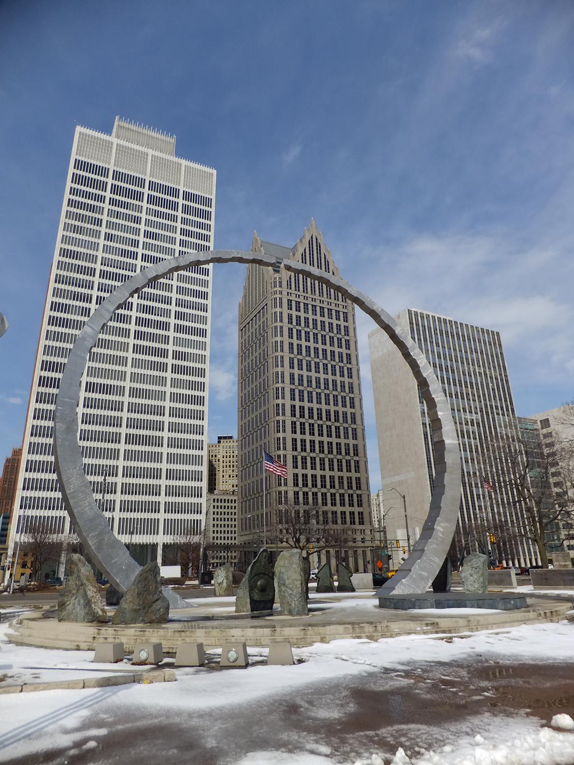 Detroit vu depuis le bord de la Detroit river