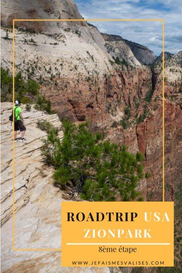 Zion, un de nos parcs préférés. CEs falaises à pic, sa vertigineuse randonnée Angel Landing. après avoir les photos, vous ne pourrez pas passer à côté par hasard.