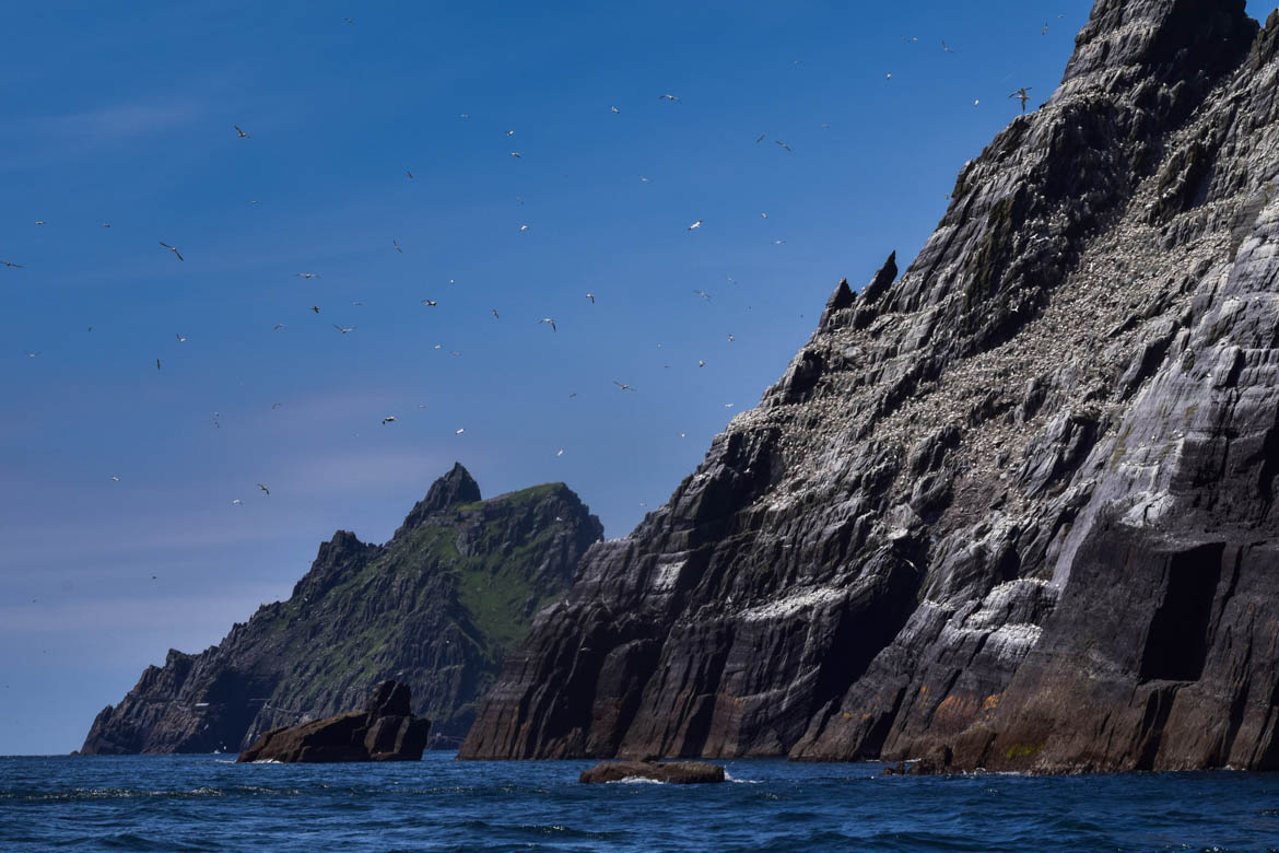 Little Skellig et au loin Skellig Michael